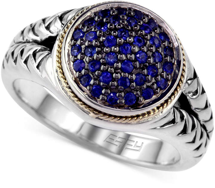 Effy Balissima by Sapphire (3/8 ct. tw.) and Diamond (1/8 ct. t.w.) Rope Ring in Sterling Silver and 18k Gold
