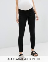 Asos PETITE Ridley Skinny Jean In Clean Black With Under The Bump Waistband