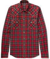 Dolce & Gabbana Slim-fit Studded Checked Cotton-twill Shirt - Red
