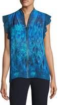Elie Tahari Women's Ruffle-Sleeve Silk Blouse