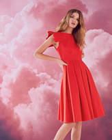 Ted Baker Frill Shoulder Cotton-blend Dress Light Orange