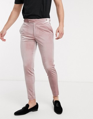 ASOS DESIGN wedding super skinny tuxedo suit trousers in dusky pink velvet