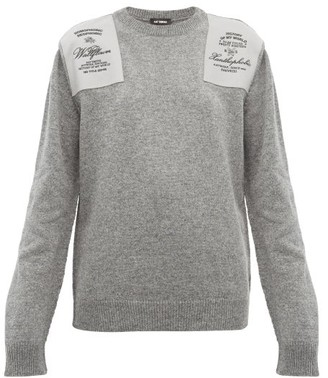 Raf Simons Embroidered Shoulder-patch Wool Sweater - Grey
