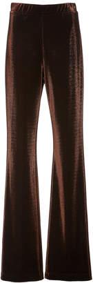Sally LaPointe Metallic Jersey Flared Pants