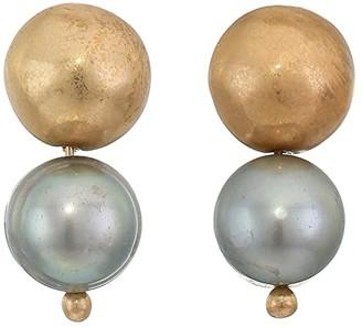 Robert Lee Morris Mixed Bead Two-Step Earrings (Grey) Earring