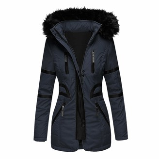 Willtop Women's Padded Faux Fur Parka Coat Winter Warm Quilted Hooded Puffer Coat with Pockets Thickened Fleece Lined Zipped Waterproof Long Down Jacket Trench Overcoat Outwear for Cold Weather