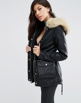Lipsy Faux Fur Hood PU Parka Jacket