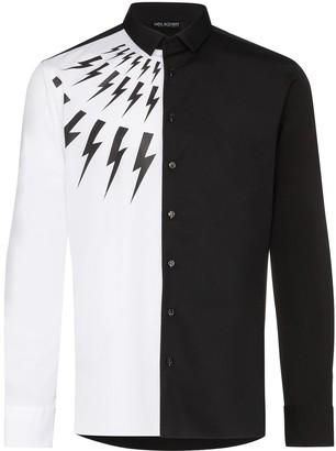 Neil Barrett lighting bolt motif two-tone shirt