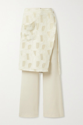 ANDERSSON BELL Celia Layered Woven And Fil Coupe Gauze Flared Pants - Beige
