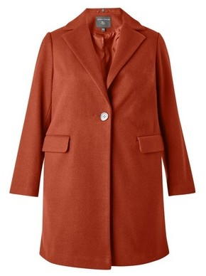 Dorothy Perkins Womens **Dp Curve Rust Minimal Lined Tailored Coat, Red