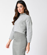 Moon Collection Vintage Style Grey Knit Rhinestone Long Sleeve Crop Sweater
