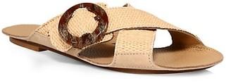 Definery Loop Cross Raffia Flat Sandals