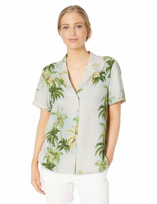 28 Palms Women's Loose-Fit 100% Silk Hawaiian Shirt