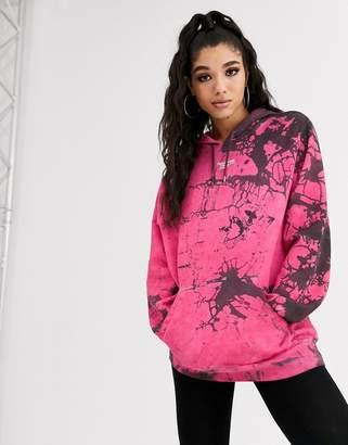 Reebok tie dye Vector hoody in burgundy exclusive to ASOS