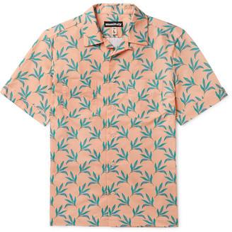 MONITALY Vacation Camp-Collar Striped Linen Shirt