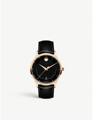 Movado 0607062 1881 Automatic PVD gold-plated and leather-strap watch