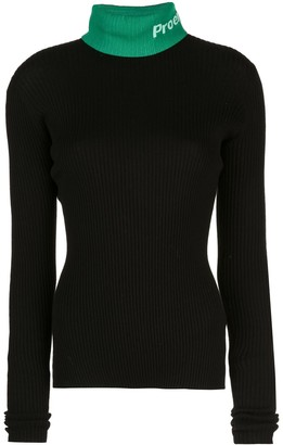 Proenza Schouler White Label PSWL logo knit turtleneck top