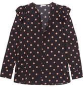 Vilshenko Ella Floral-print Swiss-dot Cotton And Silk-blend Blouse - Black