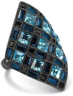 PalmBeach Jewelry Princess-Cut Blue and Black Crystal Black Rhodium-Plated Diamond-Shaped Cocktail Ring Bold