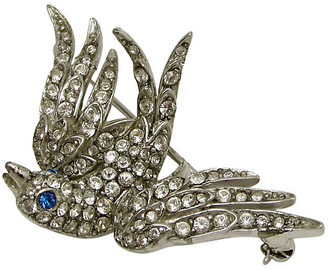 One Kings Lane Vintage Hobe Articulated Bird Pin - Thanks for the Memories - blue/clear/silver