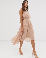 Asos Design DESIGN midi dress in satin and crepe with lace trim and tie waist