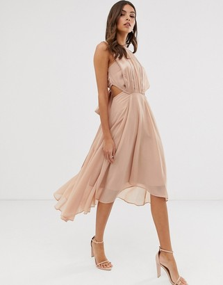 Asos Design DESIGN midi dress in satin and crepe with lace trim and tie waist-Beige
