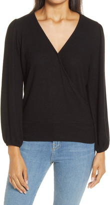 Gibson Surplice Blouson Sleeve Wrap Top