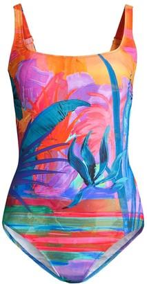 Gottex Swim Squareneck Tropical Print One-Piece