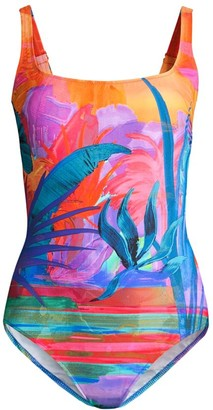 Gottex Swim Squareneck Tropical Print One-Piece