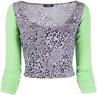 Versace Leopard Print Crop Top
