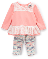 Buster Brown Whisper White & Conch Shell Lace Top and Leggings - Infant