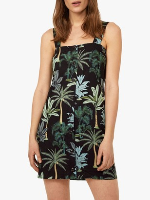 Warehouse Palm Print Square Neck Dress, Black Pattern