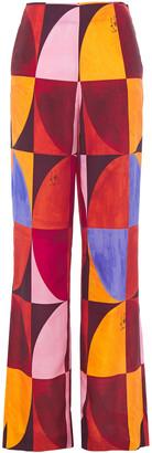 Stella Jean Printed Crepe De Chine Wide-leg Pants