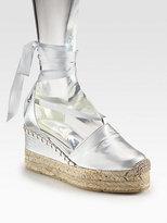 Ralph Lauren Uma Metallic Leather Tie-Up Espadrille Wedges