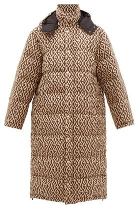 Gucci Logo Jacquard Down Filled Coat - Mens - Beige Multi