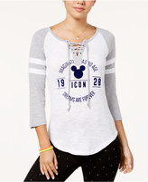 Freeze 24-7 Juniors' Lace-Up Mickey Baseball T-Shirt