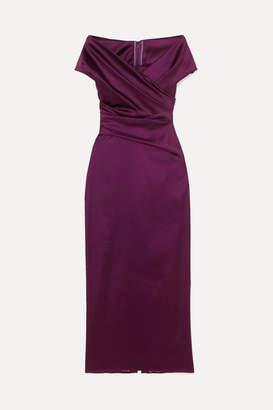 Talbot Runhof Tokara Off-the-shoulder Ruched Stretch Duchesse-satin Midi Dress - Grape