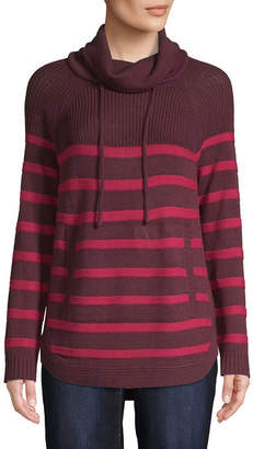 ST. JOHN'S BAY Womens Cowl Neck Long Sleeve Striped Pullover Sweater