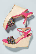 Anthropologie Frannie Wooden Wedge Sandals
