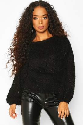 boohoo Petite Fluffy Sparkle Knit Jumper