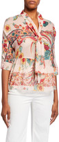 RED Valentino Birds of Paradise Print Elbow-Sleeve Tie-Front Blouse