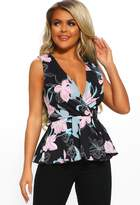 Pink Boutique So Thoughtful Black Multi Floral Peplum Wrap Top
