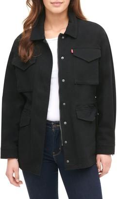 Levi's Cotton Oversize Camo Print Military Jacket