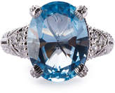 Judith Ripka Estate Blue Topaz & Sapphire Cocktail Ring