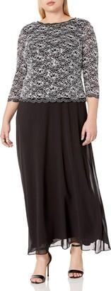 Alex Evenings Women's Plus Size Long Evening Gown with Sequin Lace Bodice
