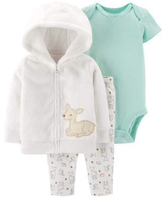 Carter's Child Of Mine By Child of Mine by Baby Girls Long Sleeve Hooded Cardigan, Short Sleeve Bodysuit, and Pant Outfit Set, 3 pc set