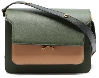 Marni Trunk Medium Saffiano-leather Shoulder Bag - Khaki Multi