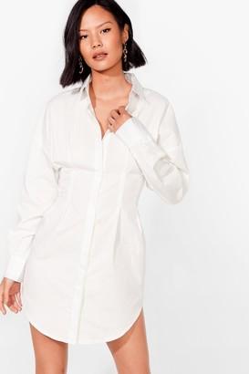 Nasty Gal Womens Collared Corset Mini Shirt Dress - White