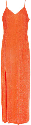 retrofete Sequined Chiffon Midi Slip Dress