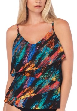 Magicsuit Viper Printed Chloe Tiered Tummy Control Tankini Top Women's Swimsuit
